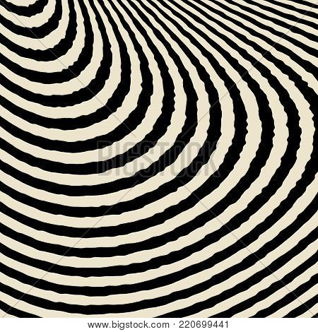 Abstract Vector Background of Waves,  Optical Illusion, Black and White Line Art, Wave Icon, Optical Art Background, Wave Design, Abstract Lines, Modern Striped Background