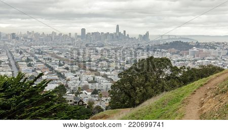 View of San Francisco Downtown from Bernal Heights Park. Bernal Heights, San Francisco, California, USA.