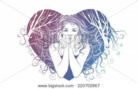 Cute girl vector. Children illustrations for school books and much more. Individual objects. T-shirt with a picture. The girl in the heart. Girl with blowing butterflies. Fashionable girl. Valentine with a girl. For clothes or other purposes, in a vector.
