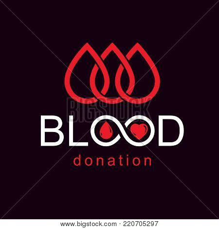Blood donation inscription made with heart shape and blood drops. Charity and volunteer conceptual logo for use in medical and social theme advertisement.