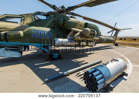 KADAMOVSKIY TRAINING GROUND, ROSTOV REGION, RUSSIA, 26 AUGUST 2017: International military technical forum «ARMY-2017». Attack helicopter «Mi-28N» «Night Hunter» and weapons