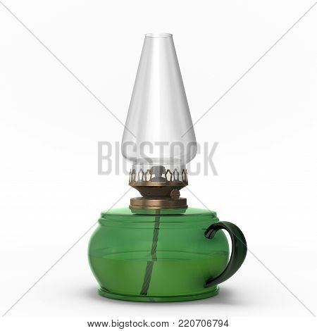 An old kerosene lamp of green color. This image is a 3D model rendering.
