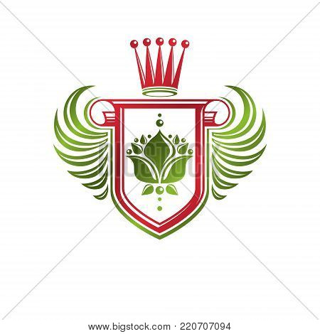 Vintage heraldic insignia made with monarch crown and lily flower royal symbol. Eco friendly product symbol, king quality theme illustration, winged protection shield created with cartouche.