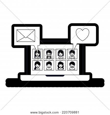 people picture profiles social network in laptop screen with dialogues mail and heart in black silhouette with thick contour vector illustration
