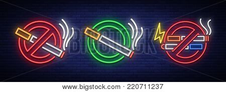 No smoke, no Vape, and a Place for smoking is a set of neon signs. Bright symbol, icon, light warning sign of smoking in an unauthorized place. Stop smoking Vector illustration.