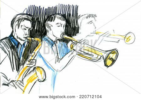 Sketch of copper brass orchestra band musical instrument