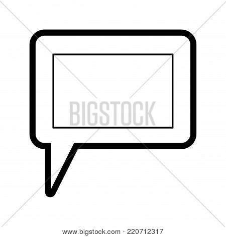 dialogue box icon with tail and frame in black silhouette with thick contour vector illustration