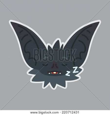 Bat sticker. Emoji. Vector illustration of cute Halloween bat vampire shows sleepy emotion. Rest. Isolated emoticon icon with sublayer. Bat-eared grey creature s snout. Print design. Badge. Sleeping.