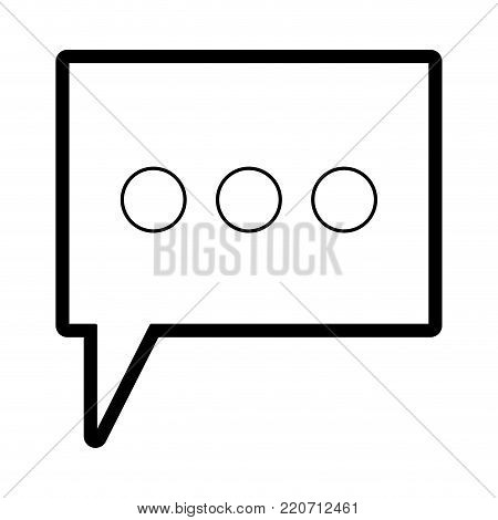 dialogue box with tail and three suspension points in black silhouette with thick contour vector illustration