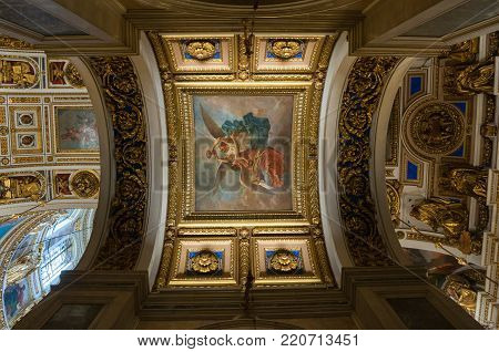 ST PETERSBURG, RUSSIA - AUGUST 15, 2017. Interior view of the St Isaac Cathedral in St Petersburg, Russia. Inside view of St Petersburg Russia landmark