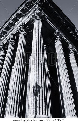 Kazan Cathedral colonnade in St Petersburg, Russia - architecture landscape. St Petersburg architecture landmark. Architecture background. Black and white tones applied