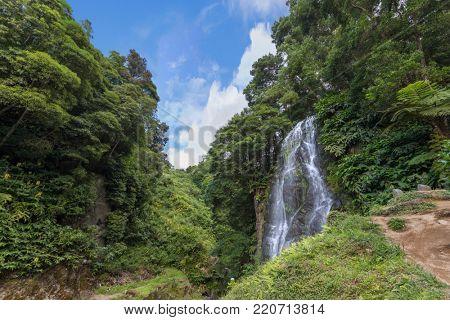 Ribeira dos Caldeiroes waterfall in Sao Miguel Island - Azores
