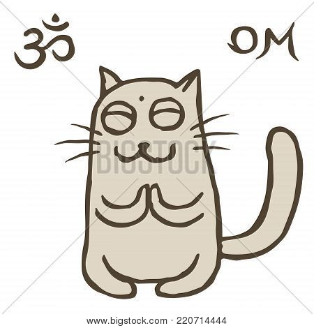 Cartoon cat Tik reached enlightenment. Om sign and symbol. Vector illustration. Cute pet character.
