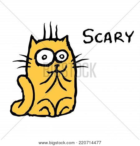 Scared cartoon orange cat.Tik. Vector illustration. Cheerful cartoon pet