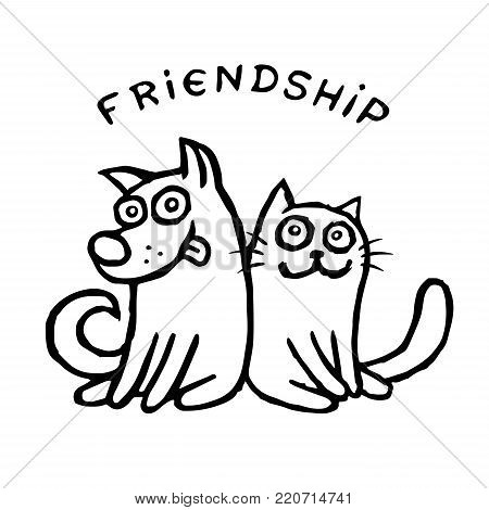 Funny cat and his friend dog. Best friends. Vector illustration. Together forever
