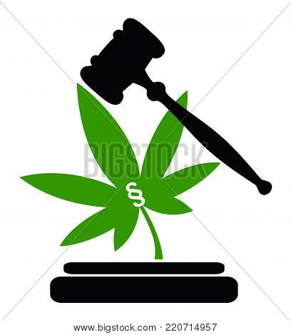 Legality of Cannabis. Concept sign for marijuana laws, to make the use of weed legal or illegal