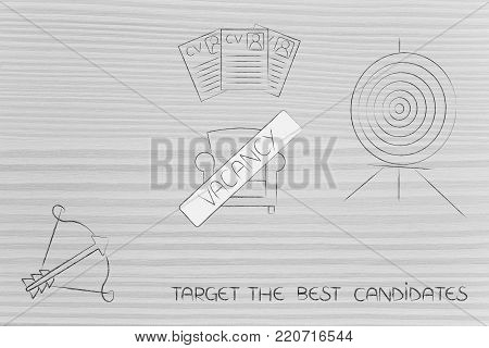 targeting the best candidates conceptual illustration: target and arrow with Vacancy chair and shortlisted resumes in between