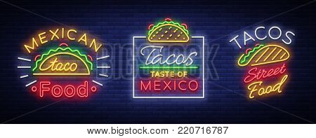 Tacos set of neon-style logos. Collection of neon signs, symbols, bright billboard, nightly advertising of Mexican food Tako. Vector illustration for your projects, restaurant, cafe.