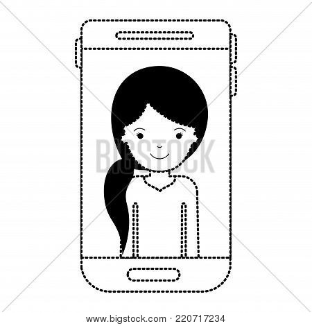 smartphone woman profile picture with pigtail hairstyle in black dotted silhouette vector illustration