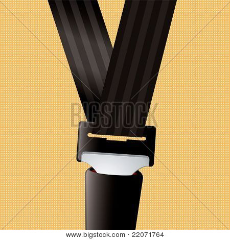 Saftey seat belt clipped in with orange background