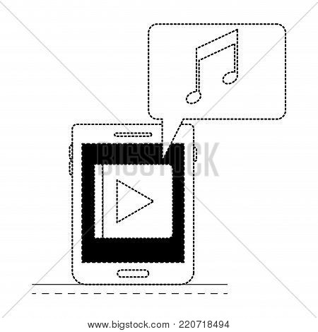 tablet device music app and dialogue box in black dotted silhouette vector illustration