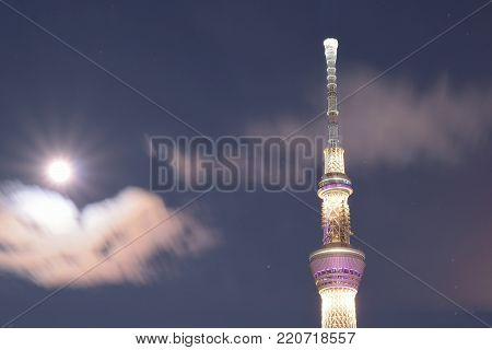 TOKYO, JAPAN JANUARY 1, 2018 : Tokyo's famous landmark building called Sky Tree as seen from Sumida river taken on January 1 , 2018. Tokyo Sky tree is one of the tallest towers in the world