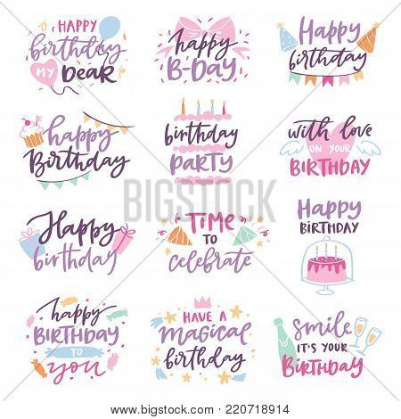 Happy birthday quote anniversary text sign kids birth lettering type with calligraphy letters or textual font for anniversary greeting card to typography illustration isolated on white.