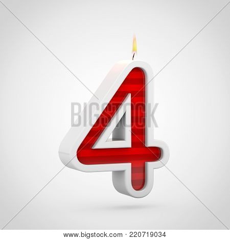 Birthday Candle Number 4 Isolated On White Background.
