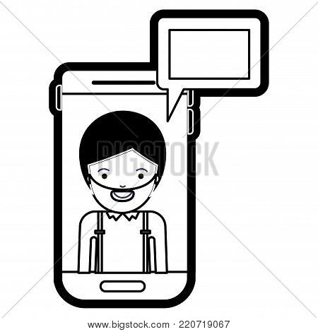 man social network smartphone screen dialogue in black silhouette with thick contour vector illustration