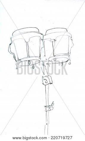 Percussion instrument sketch icon. Hand drawn dark grey.