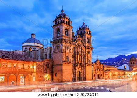 Cusco,Peru. Peru the historic capital of the Inca Empire. Plaza de Armas at twilight.