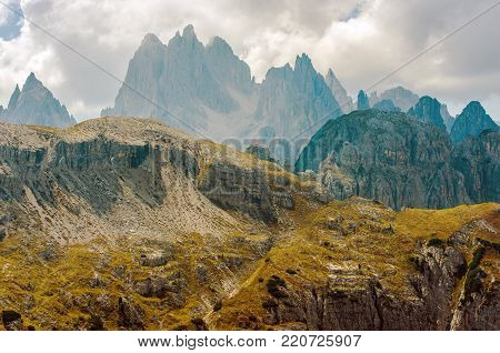 Scenic Vista in the Italian Dolomites Mountains. Italian Alps.