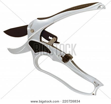 garden pruning shears metal silver color open closeup, isolated on white background