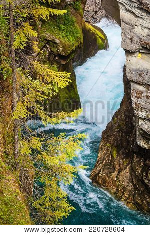 Tourist attraction in Norway, Europe. Gudbrandsjuvet waterfalls located in the Valldalen valley, between Valldal and Trollstigen