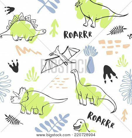 Seamless pattern with cute dinosaurs for children textile,  posters and other design