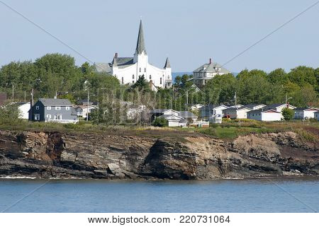 The steep costline of little North Sydney town in Canada (Nova Scotia).