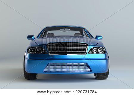 3d rendering of a brandless generic blue car in a studio environemnt