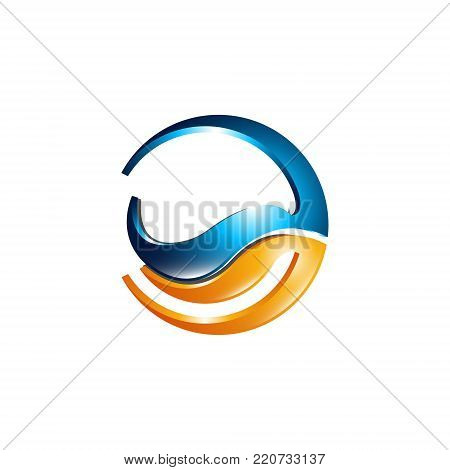 Abstract 3d rounded vector icon such logo design element