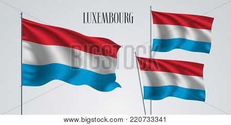 Luxembourg waving flag set of vector illustration. Red blue colors of Luxembourg wavy realistic flag as a patriotic symbol