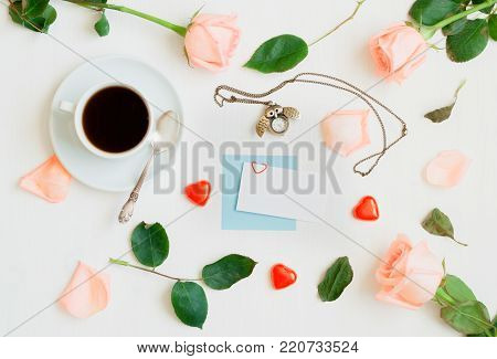 St Valentines day background. Festive St Valentine's Day still life with blank card for St Valentine's Day message. Romantic St Valentine's Day background in soft tones. Romantic still life with concept of St Valentine's Day