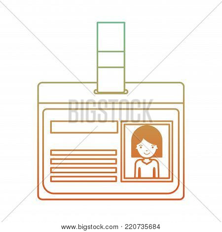 identification card with half body woman picture with hair middle length in degraded green to red color contour vector illustration