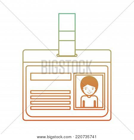 identification card with half body man picture with short hair in degraded green to red color contour vector illustration