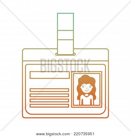 identification card with half body woman picture with long wavy hair in degraded green to red color contour vector illustration