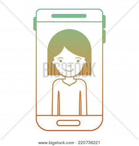 smartphone woman profile picture with hair middle length in degraded green to red color silhouette vector illustration