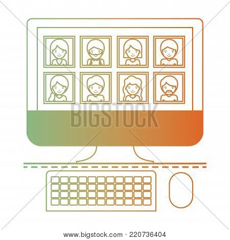 people picture profiles social network in desktop computer screen in degraded green to red color silhouette vector illustration