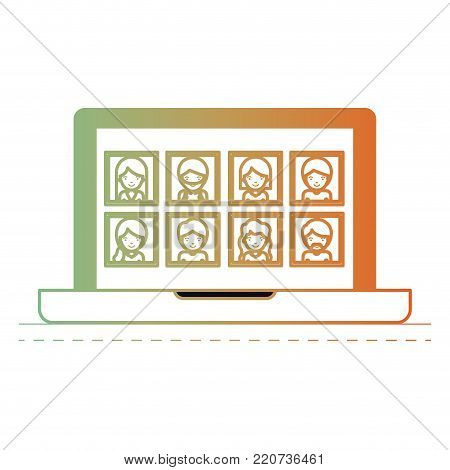 people picture profiles social network in laptop screen in degraded green to red color silhouette vector illustration