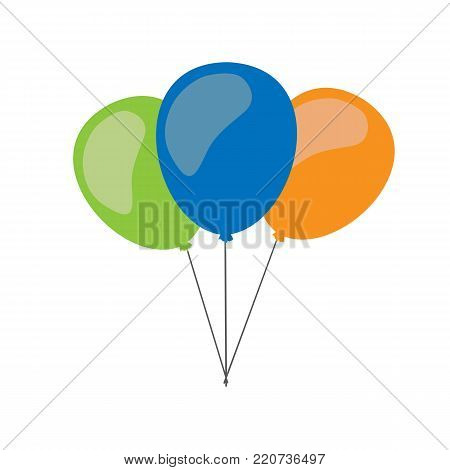 Balloons isolated on white background. Three balloons. Vector stock.
