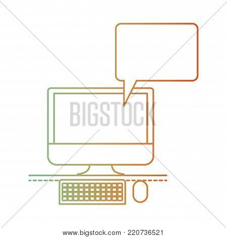 desktop computer with bubble dialogue in degraded green to red color silhouette vector illustration
