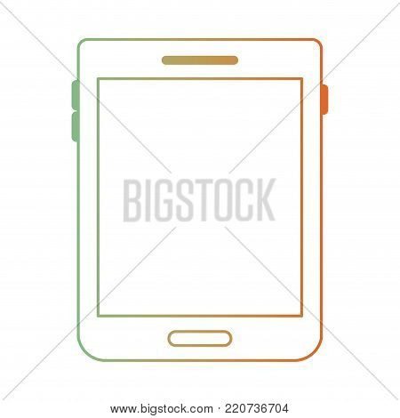 tablet device icon in degraded green to red color silhouette vector illustration