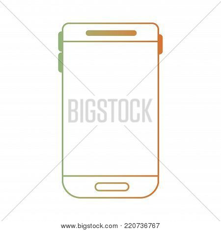 smartphone device icon in degraded green to red color silhouette vector illustration